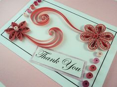 Pink Flower Quilled Card