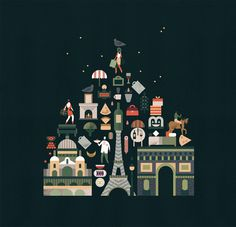 Illustrated map of Paris for French newspaper Le Monde by Lotta Nieminen — Agent Pekka Lagom Design, Design Art, Graphic Design, Flat Design, Travel Illustration, Creative Illustration, Paris Illustration, Tour Eiffel, Lotta Nieminen