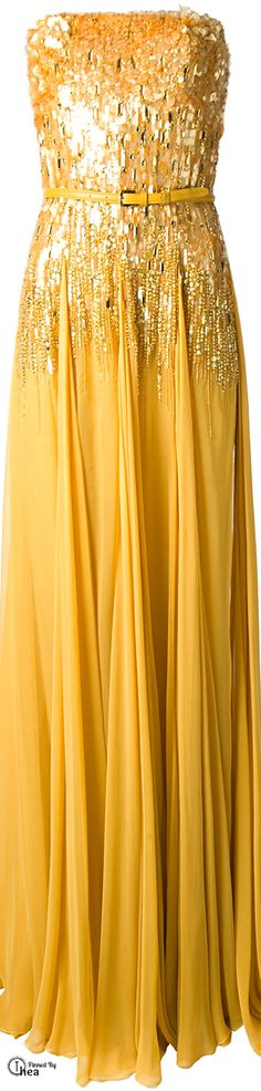 Elie Saab ● Yellow silk strapless evening gown