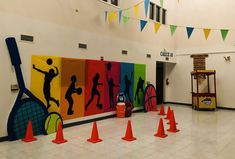 Lobby is done! Class Reunion Decorations, Stage Decorations, Sports Day Banner, Sports Day Decoration, Principal Office Decor, School Wide Themes, Team Theme, Vbs Themes, Sport Craft