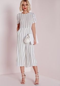 Stripe T-shirt Culotte Jumpsuit White
