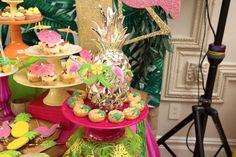 Pineapple macarons from a Tropical Flamingo Paradise Birthday Party on Kara's Party Ideas | KarasPartyIdeas.com (15)
