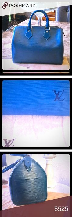 """100% Authentic Louis Vuitton EPI Boston Speedy 25 Authentic Louis Vuitton EPI Boston Speedy 25 blue handbag. looks like new! Comes with dust bag. serial number SP0025.Size in inches approx: W9.8""""X H7.4"""" XD5.8"""" Handle drop 3.9"""". Bundle and save 15% Louis Vuitton Bags"""