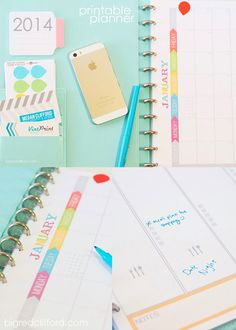 2014 printable planner with meal planning. Multi-color, coordinated, and lots of room and spaces for to-dos. Lots of new extras and an Instagram giveaway! #organization #newyear