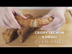 Super crackling skin, tender, and juicy Lechon Kawali that is cooked in an oven and not deep-fried. This is your favorite Filipino crispy pork belly made easier and delicious with the simplest seasoning. Pork Belly Recipe Oven, Pork Belly Recipes, Filipino Recipes, Hawaiian Recipes, Filipino Food, Asian Recipes, Bbq Chicken Bombs, Lechon Recipe, Lechon Belly