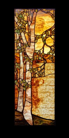 The landscape in this piece appears to be ripple glass, which is sure hard to work with, but so beautiful! Faux Stained Glass, Stained Glass Designs, Stained Glass Panels, Stained Glass Projects, Stained Glass Patterns, Leaded Glass, Mosaic Art, Mosaic Glass, Fused Glass