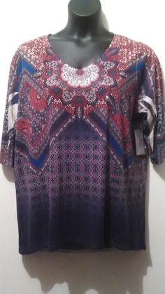Plus Size Women Top Tunic NWT Catherine's 0X Multi-color Americana Print #Catherines #Tunic #Casual