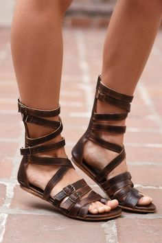 A unique brown gladiator sandal that is also comfortable. The BEDSTU sandals are hand made and hand painted. The leather is organic and uses no toxic chemicals. Great for festival season and fans of free people
