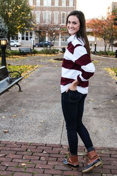 The perfect combination of casual and preppy, throw on your Classic Stripe Rugby with a pair of duck boots!