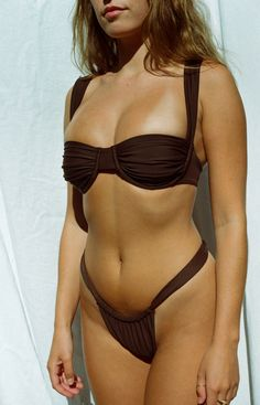 The Ruched Oracle Top — Belle the Label - Bohemian Boho Luxe Basics Apparel, Swimwear, and Intimates Clothing Underwire Bikini Top, Bikini Tops, Brown Swimsuit, Swimsuits, Bikinis, Swimwear, Staple Pieces, Female Form, Women Wear