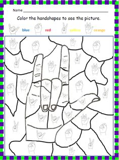 Amanda Duda, Pedagogia e Libras: Color the handshapes to see the picture.
