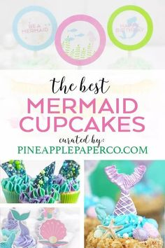Learn How to Make DIY Mermaid Cupcakes with these AWESOME Mermaid Cupcakes Ideas for your next Mermaid Birthday Party, Under the Sea Party, or Ariel The Little Mermaid Party - curated by Pineapple Paper Co. Girls Birthday Party Themes, Fun Party Themes, Girl Birthday, Birthday Ideas, Party Ideas, Mermaid Cupcake Toppers, Mermaid Cupcakes, Little Mermaid Birthday, Little Mermaid Parties