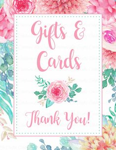Floral Baby Shower - Printable Thank You sign for the gift table