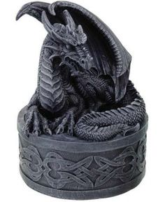 The Celtic Dragon Box would look great in any room. This box features a dragon curled up on top of the lid to this box. The base of this box is covered in Celtic designs. This box is made of cold cast resin and measures inches. Medieval Dragon, Celtic Dragon, Dragon Statue, Dragon Art, Medieval Home Decor, Fiery Dragon, Dragon Figurines, Dragon Jewelry, Dragon Pendant