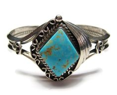 Vintage RoystonTurquoise Cuff Bracelet by Navajo Tom Billy - pinned by pin4etsy.com