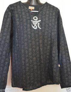 Veda-Black-Embellished-Buddhist-Sanskrit-Aum-OHM-OM-Top-Om-Mantra-sz-L