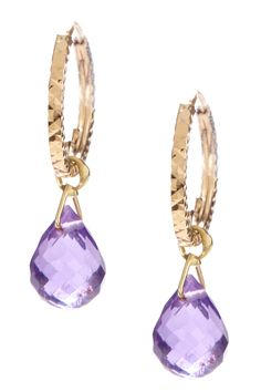 14K gold textured hoop with faceted amethyst briolette dangle earrings