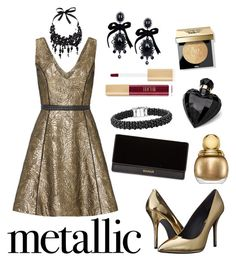 Metallic Gold Dress by fashion-film-fun on Polyvore featuring polyvore, fashion, style, Nha Khanh, Pierre Balmain, Balmain, Lagos, Dsquared2, Tom Ford, John Lewis, Bobbi Brown Cosmetics, Lipsy, Christian Dior and clothing