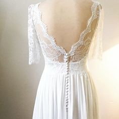 Low back lace boho wedding dress. The Marianne design luxurious French Lace on the bodice and three quarter sleeve Bohemian Style Wedding Dresses, Handmade Wedding Dresses, Designer Wedding Dresses, Boho Dress, Wedding Color Pallet, Gold Wedding Colors, Lace Wedding, Marianne Design, London Wedding