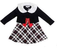 Youngland Big Girls Plaid Dress & Faux Fur Shrug Set NWT Size 5 #Youngland #DressyHoliday