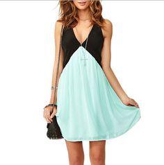 Sleeveless Pure Color Spicing V-neck Short Dress