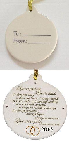 Corinthians 13.4 Love is Patient 2016 Wedding Anniversary Porcelain Ornament Rhinestone Crystal Detail