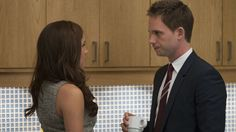 Meghan Markle as Rachel Zane and Patrick J. Adams as Mike Ross in Suits