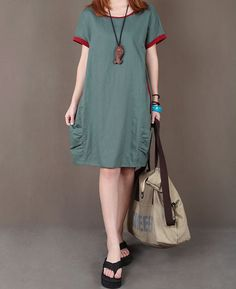 Olive green linen dress maxi dress short by originalstyleshop, $59.00