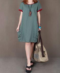 Olive green linen dress maxi dress short by originalstyleshop, $59.00