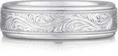 Platinum Engraved Paisley Wedding Band