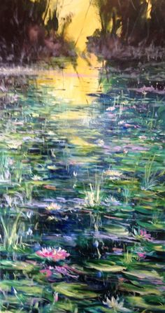 THE LILY LAKE - 40 x 20 inches. A calming, quiet and serene painting. Oil on canvas. Euro 890