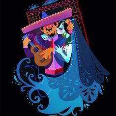 Mariachi Print by Brittney Lee of britsketch on Etsy Art Et Illustration, Illustrations, Character Illustration, Papercut Art, Brittney Lee, Bd Art, Zentangle, Disney Pixar, Mexico Art