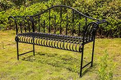 BIRCHTREE 2/3 Seater Garden Bench Metal Steel Ornate Antique Rustic Vintage Style Park Patio Outdoor Furniture Seat C...