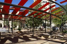 Main Plaza San Antonio envisioned vibrant colors and design for the renovated plaza for performances and events. Through architecture partnering firms, Chism f… Fabric Structure, Shade Structure, Downtown San Antonio, Landscape Structure, Places In America, Spanish Colonial, Urban Landscape, Shade Garden, Great Places