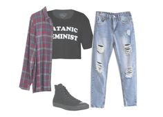 """""""Satanic feminist"""" by unicorncupcakes ❤ liked on Polyvore featuring Converse and Madewell"""