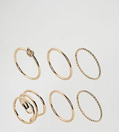 ASOS CURVE Pack of 6 Twist & Knot Rings - Gold