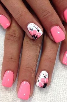 40 Fabulous Nail Designs That Are Totally In Season Right Now Summer Acrylic Nails, Best Acrylic Nails, Summer Nails, Bright Pink Nails, Pink Nail Art, Fabulous Nails, Perfect Nails, Cow Nails, Nagellack Design