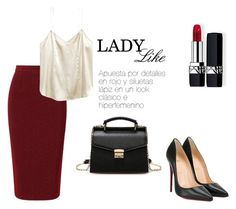 """lady"" by jennifermarchal on Polyvore featuring moda, Roland Mouret, Christian Dior y Christian Louboutin"