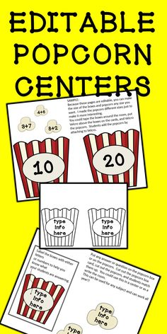 Your kids will LOVE these adorable popcorn themed centers. This product is for you! This EDITABLE product will allow you to choose any subject and create a center and/or a write the room activity. Simply choose color or black and white, choose your material, print, cut, and LEARN!