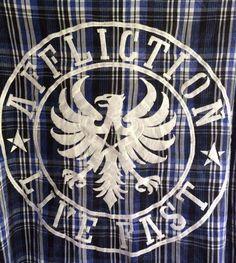 Men's Affliction Black Label Buckle Long Sleve Blue Plaid Embroidered Shirt  L  #Affliction #ButtonFront