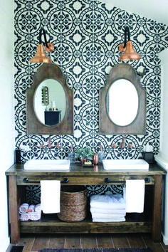 fun for powder bath- tile Master Bathroom Renovation- How to achieve a farmhouse style bathroom- farmhouse style- bathroom- remodeled bathroom- farmhouse bathroom- cement tile- copper accents- farmhouse style- bathroom update- bathroom reveal- bath Wooden Bathroom Vanity, Master Bathroom, Wood Vanity, Wood Bath, Rustic Vanity, Bathroom Cabinets, Gold Bathroom, Bathroom Mirrors, Vanity 6