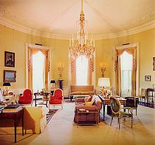 Elegant Sister Parish Yellow Oval Room At White House During JFKu0027s Administration