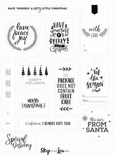 Christmas Present Tags, Christmas Gift Tags Printable, Christmas Card Template, Free Christmas Printables, Christmas Wrapping, Merry Christmas Calligraphy, Merry Little Christmas, Christmas Things, Handmade Gift Tags