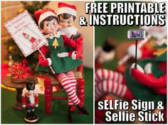 Elf on the Shelf Printable. sELFie Sign and simple instructions on how to make an elf selfie stick out of paper and a toothpick for your Elf on the Shelf. To view more pins like this one, search for Pinterest user amywelsh18.