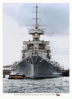 Colourised picture of 32000 ton,11in Gneisenau at Kiel, May 1939. Because of their high speed (31 knots) and relatively light gun calibre the Allies considered her and sister Scharnhorst to be battlecruisers, but as can be seen from the thickness of her armoured belt protection was very much on a battleship scale, and she was classified as such by the Germans.