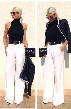 Lunettes de soleil, pantalon large blanc, chaussure pointue, ceinture noire boucle Chanel, veste cuir noir et bordure blanche cas à main Coco Chanel, style drama élégante, Jelena Karleusa