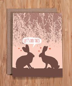 valentine's day card / funny valentine / rabbits do this / witty cards / by Modern Printed Matter