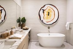 It's all about the details in this master bathroom. Featuring a deep soaking tub, marine-grade custom cabinets, marble countertops and shower, separate water closet and a stunning art piece on a textured tile wall – designed by Oriental Hotel, Deep Soaking Tub, Bathroom Goals, Grand Cayman, Indoor Outdoor Living, Large Bedroom, Custom Cabinets, Elle Decor, Wall Design