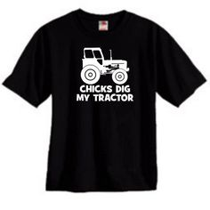 CHICKS DIG MY TRACTOR FUNNY KIDS YOUTH OR TODDLER SHIRT BLACK NEW | KoolKidzClothing - Clothing on ArtFire