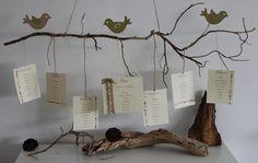 Plan de table ~ Décoration de mariage, baptême ~ Thème nature et oiseaux